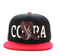 SM590 Cobra Snapback Cap (Black & Red)