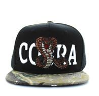 SM590 Cobra Snapback Cap (Black & Hunting Camo)