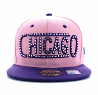 SM331 Chicago City Snapback (Light Pink & Purple)
