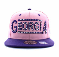 SM331 Georgia State Snapback (Light Pink & Purple)