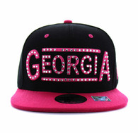 SM331 Georgia State Snapback (Black & Hot Pink)