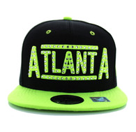 SM331 Atlanta City Snapback (Black & Neon Lime)