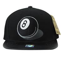 SM412 8 Ball Snapback Cap (Black & Black)