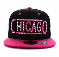 SM331 Chicago City Snapback (Black & Hot Pink)