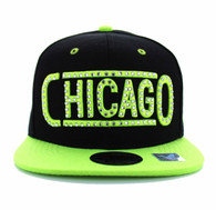 SM331 Chicago City Snapback (Black & Neon Lime)