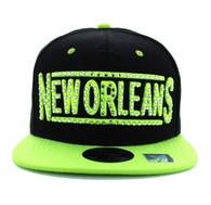 SM331 New Orleans City Snapback (Black & Neon Lime)