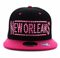SM331 New Orleans City Snapback (Black & Hot Pink)
