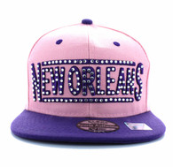 SM331 New Orleans City Snapback (Light Pink & Purple)