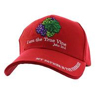 VM026 I am The True Vine John 15:1 Velcro Cap (Solid Red)