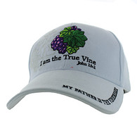 VM026 I am The True Vine John 15:1 Velcro Cap (Solid White)