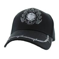 VM622 Skull Velcro Cap (Solid Black)