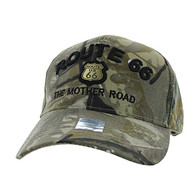 VM223 Route 66 Road Gold Metal Velcro Cap (Solid Hunting Camo)