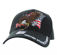 VM516 American USA Eagle Velcro Cap (Solid Black)
