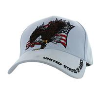 VM516 American USA Eagle Velcro Cap (Solid White)