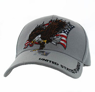 VM516 American USA Eagle Velcro Cap (Solid Light Grey)