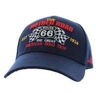 VM169 Route 66 Flag Velcro Cap (Solid Navy)