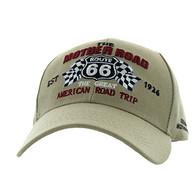 VM169 Route 66 Flag Velcro Cap (Solid Khaki)