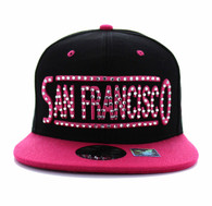 SM331 San Francisco City Snapback (Black & Hot Pink)