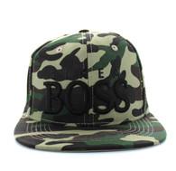 "SM356 ""LIKE A BOSS "" Cotton Snapback (Solid Military Camo - Black)"