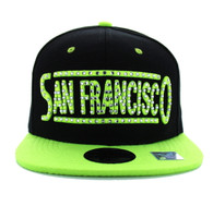 SM331 San Francisco City Snapback (Black & Neon Lime)