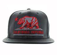 SM616 Cali Bear Snapback Cap (Black & Black - Red)