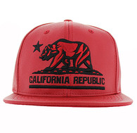 SM616 Cali Bear Snapback Cap (Red & Red - Black)