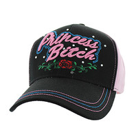 VM209 Princess Bitch Cotton Velcro Cap (Black & Light Pink)