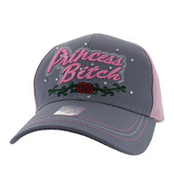 VM209 Princess Bitch Cotton Velcro Cap (Light Grey & Light Pink)