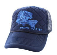SM615 Born to Fish Trucker Mesh Cap (Solid Navy)