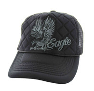 SM615 Eagle Trucker Mesh Cap (Solid Black)