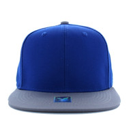 SP028 Blank Cotton Snapback (Royal Blue & Light Grey)
