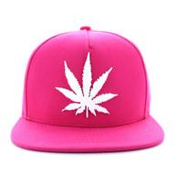 SM355 Marijuana Cotton Snapback (Solid Hot Pink)
