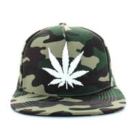SM355 Marijuana Cotton Snapback (Solid Military Camo)