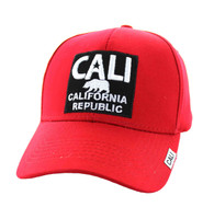 VM514 Cali Cotton Velcro Cap (Red & Black)