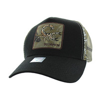 VM403 Scorpion Cotton Velcro Cap (Black & Hunting Camo)
