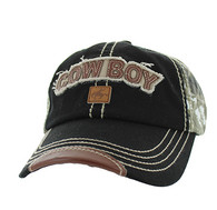 BM537 Cowboy Buckle Cap (Black & Hunting Camo)