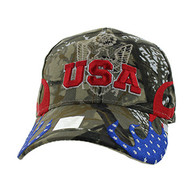 VM078 American USA Flame Velcro Cap (Solid Hunting Camo)