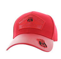 VM626 Route 66 Wing Velcro Cap (Red & Red PU)