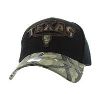 VM646 Texas Velcro Cap (Black & Hunting Camo)