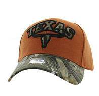 VM646 Texas Velcro Cap (Texas Orange & Hunting Camo)