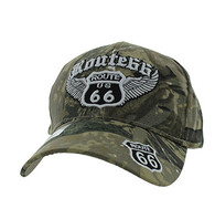 VM318 Route 66 Road Wings Velcro Cap (Solid Hunting Camo)