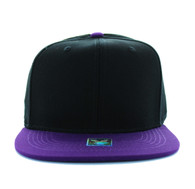 SP028 Blank Cotton Snapback (Black & Purple)