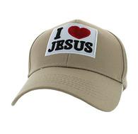 VM641 I Love Jesus Velcro Cap (Solid Khaki)