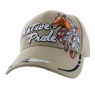 VM291 Native Pride Horse Velcro Cap (Solid Khaki)