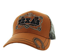 VM502 Texas Velcro Cap (Texas Orange & Hunting Camo)
