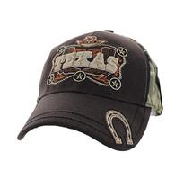 VM502 Texas Velcro Cap (Brown & Hunting Camo)