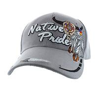 VM291 Native Pride Skull Velcro Cap (Solid Light Grey)