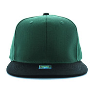 SP028 Blank Cotton Snapback (Dark Green & Black)