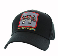 VM604 Native Bear Cotton Velcro Cap (Solid Black)