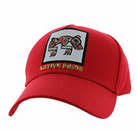 VM604 Native Bear Cotton Velcro Cap (Solid Red)